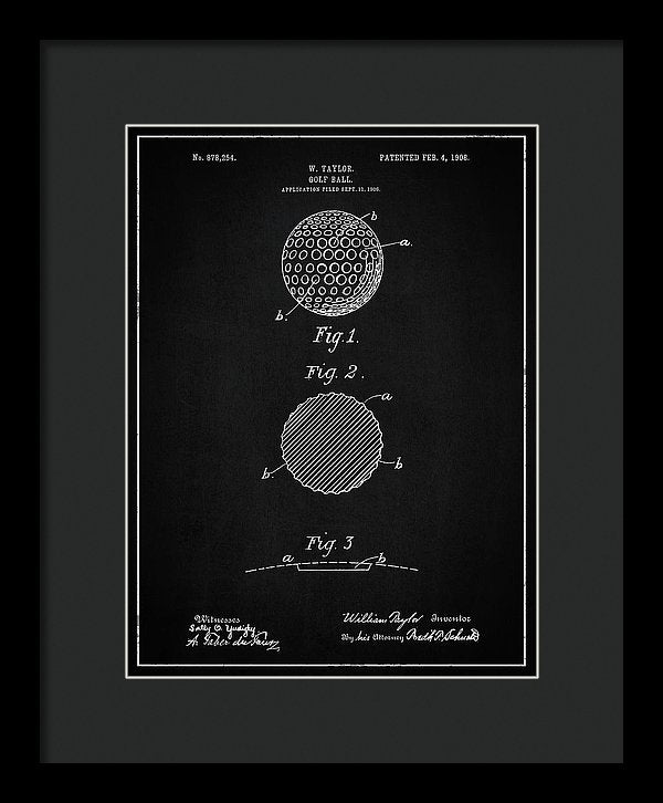Vintage Golf Ball Patent, 1908 - Framed Print from Wallasso - The Wall Art Superstore