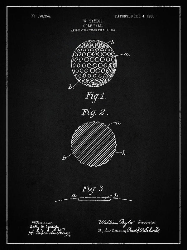 Vintage Golf Ball Patent, 1908 - Art Print from Wallasso - The Wall Art Superstore