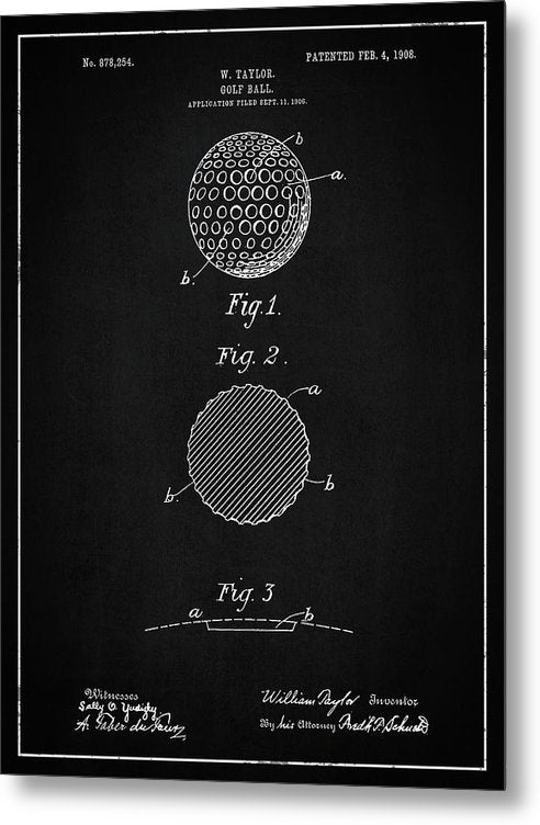 Vintage Golf Ball Patent, 1908 - Metal Print from Wallasso - The Wall Art Superstore