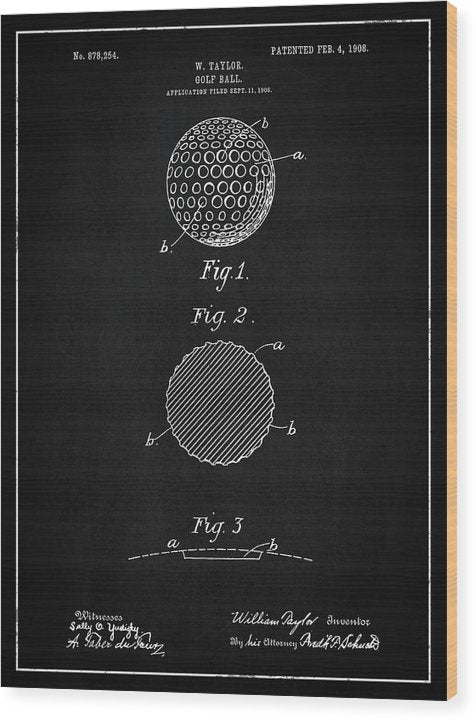 Vintage Golf Ball Patent, 1908 - Wood Print from Wallasso - The Wall Art Superstore