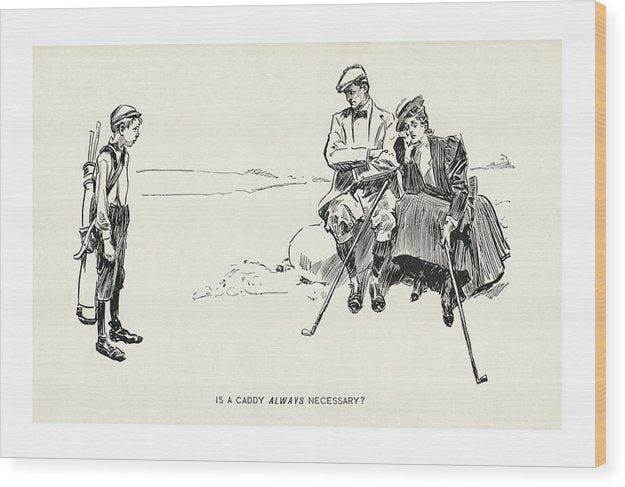 Vintage Golf Caddy Funny Cartoon - Wood Print from Wallasso - The Wall Art Superstore