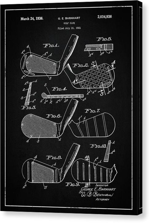 Vintage Golf Club Patent, 1936 - Canvas Print from Wallasso - The Wall Art Superstore