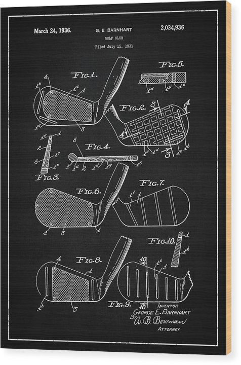 Vintage Golf Club Patent, 1936 - Wood Print from Wallasso - The Wall Art Superstore