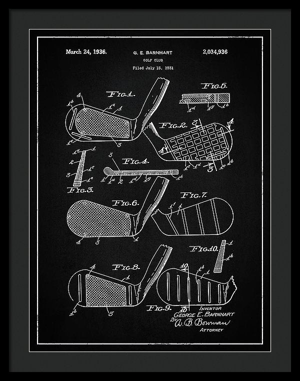 Vintage Golf Club Patent, 1936 - Framed Print from Wallasso - The Wall Art Superstore