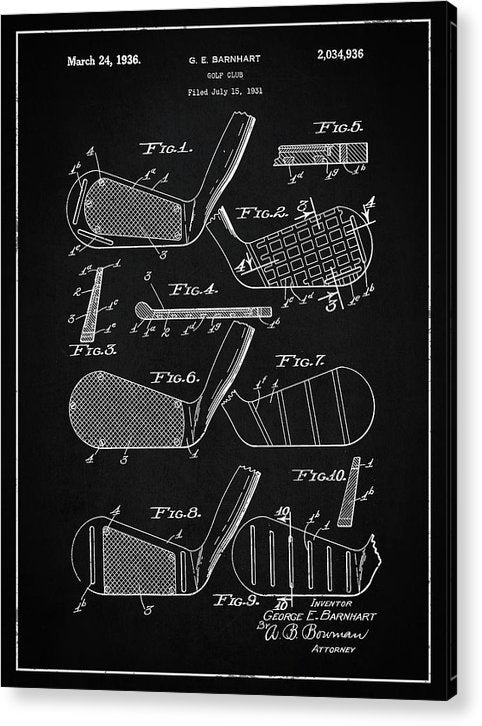 Vintage Golf Club Patent, 1936 - Acrylic Print from Wallasso - The Wall Art Superstore