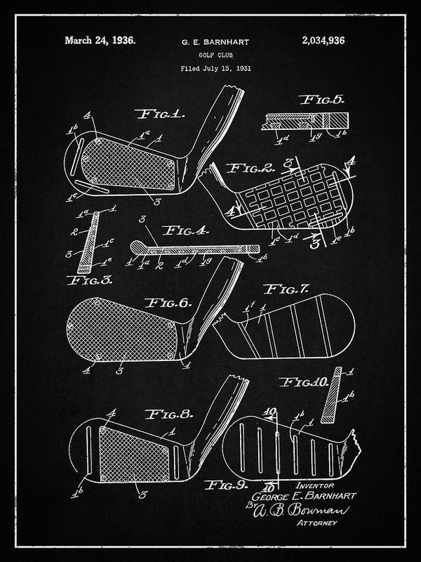 Vintage Golf Club Patent, 1936 - Art Print from Wallasso - The Wall Art Superstore