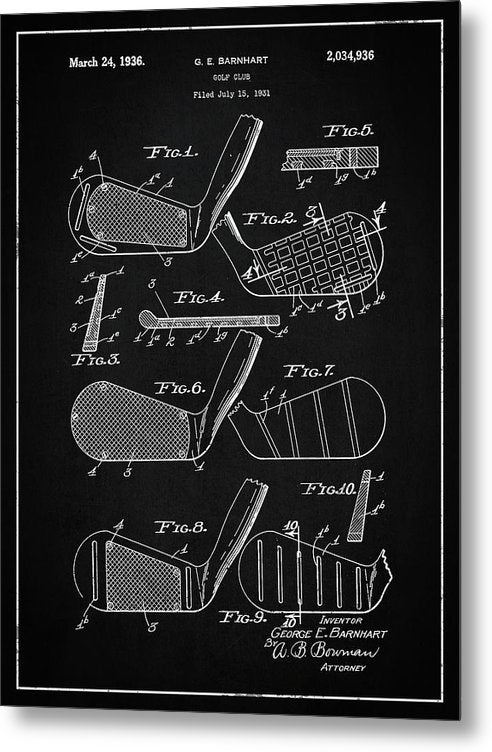 Vintage Golf Club Patent, 1936 - Metal Print from Wallasso - The Wall Art Superstore