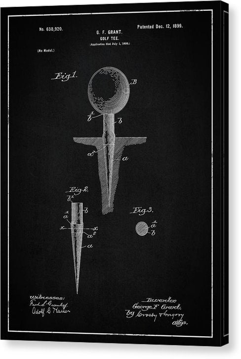 Vintage Golf Tee Patent, 1899 - Canvas Print from Wallasso - The Wall Art Superstore