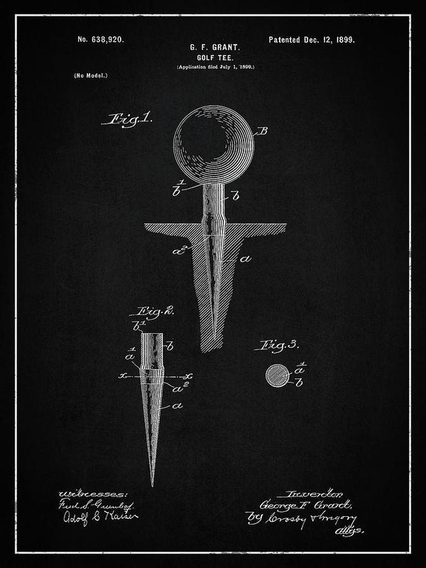 Vintage Golf Tee Patent, 1899 - Art Print from Wallasso - The Wall Art Superstore