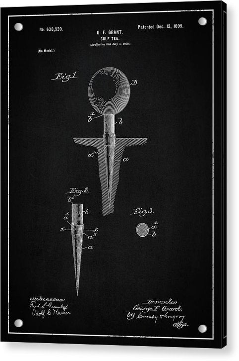 Vintage Golf Tee Patent, 1899 - Acrylic Print from Wallasso - The Wall Art Superstore