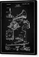 Vintage Gramophone Patent, 1900 - Canvas Print from Wallasso - The Wall Art Superstore