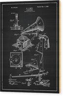 Vintage Gramophone Patent, 1900 - Wood Print from Wallasso - The Wall Art Superstore