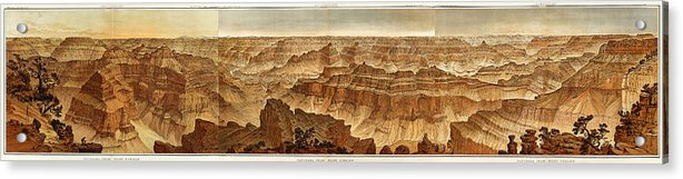 Vintage Grand Canyon Panoramic Illustration From 1882 - Acrylic Print from Wallasso - The Wall Art Superstore