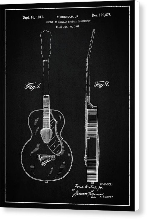 Vintage Gretsch Guitar Patent, 1941 - Canvas Print from Wallasso - The Wall Art Superstore