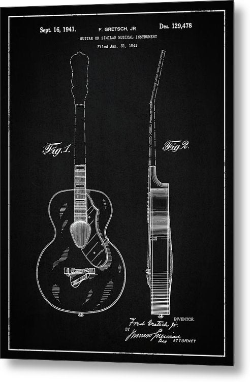Vintage Gretsch Guitar Patent, 1941 - Metal Print from Wallasso - The Wall Art Superstore