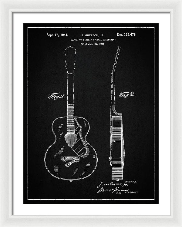 Vintage Gretsch Guitar Patent, 1941 - Framed Print from Wallasso - The Wall Art Superstore