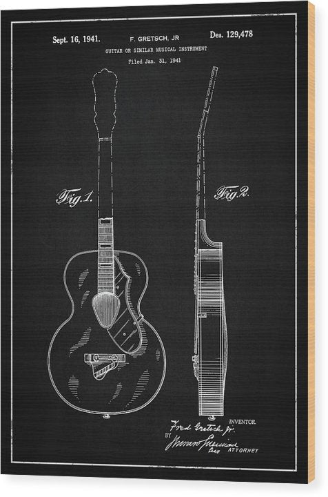 Vintage Gretsch Guitar Patent, 1941 - Wood Print from Wallasso - The Wall Art Superstore