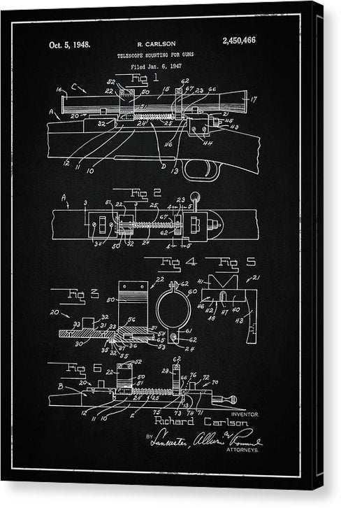 Vintage Gun Scope Patent, 1948 - Canvas Print from Wallasso - The Wall Art Superstore