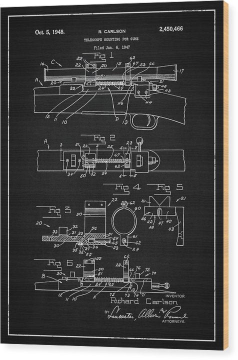 Vintage Gun Scope Patent, 1948 - Wood Print from Wallasso - The Wall Art Superstore