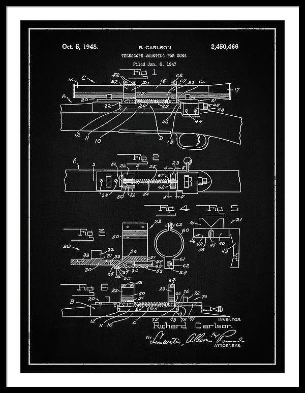 Vintage Gun Scope Patent, 1948 - Framed Print from Wallasso - The Wall Art Superstore