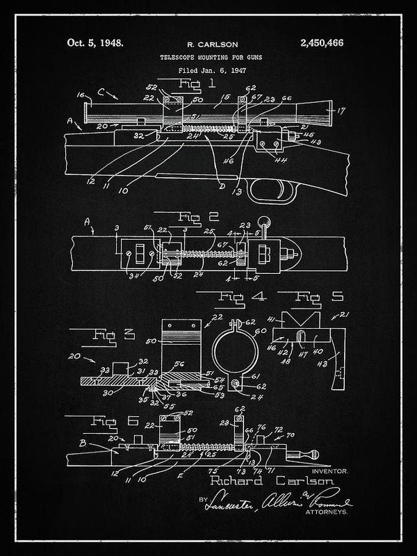 Vintage Gun Scope Patent, 1948 - Art Print from Wallasso - The Wall Art Superstore