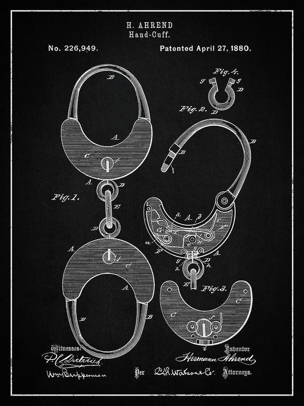 Vintage Handcuff Shackles Patent, 1880 - Art Print from Wallasso - The Wall Art Superstore