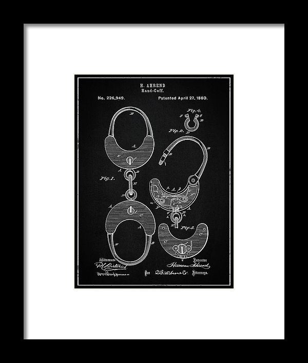 Vintage Handcuff Shackles Patent, 1880 - Framed Print from Wallasso - The Wall Art Superstore