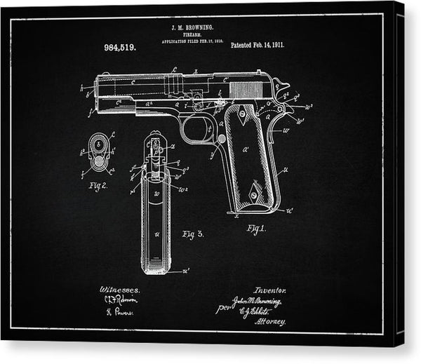 Vintage Handgun Patent, 1911 - Canvas Print from Wallasso - The Wall Art Superstore