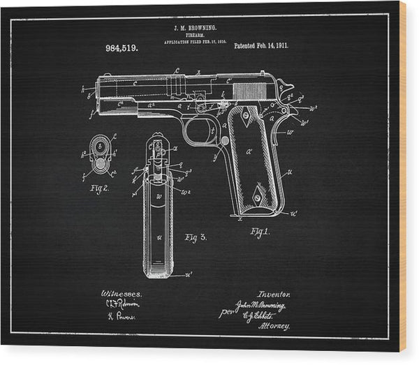 Vintage Handgun Patent, 1911 - Wood Print from Wallasso - The Wall Art Superstore