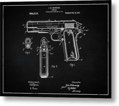 Vintage Handgun Patent, 1911 - Metal Print from Wallasso - The Wall Art Superstore