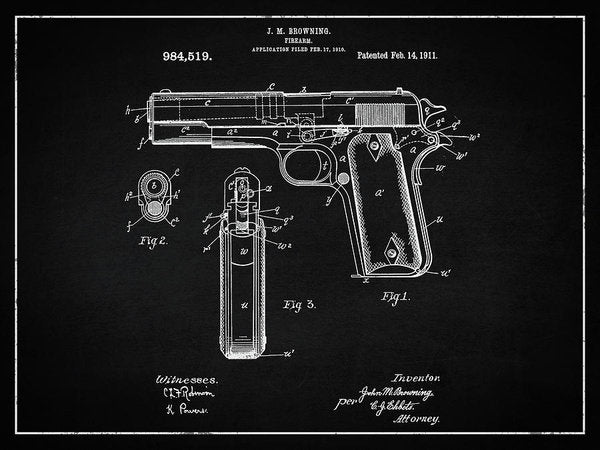 Vintage Handgun Patent, 1911 - Art Print from Wallasso - The Wall Art Superstore
