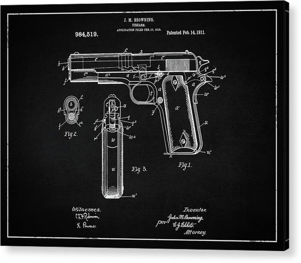 Vintage Handgun Patent, 1911 - Acrylic Print from Wallasso - The Wall Art Superstore