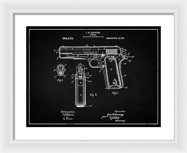 Vintage Handgun Patent, 1911 - Framed Print from Wallasso - The Wall Art Superstore
