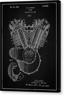 Vintage Harley Davidson Engine Patent, 1923 - Canvas Print from Wallasso - The Wall Art Superstore