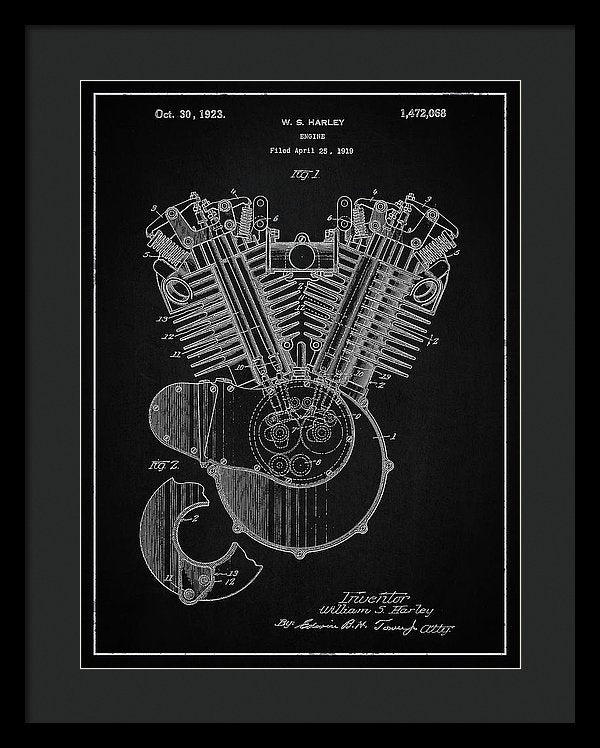 Vintage Harley Davidson Engine Patent, 1923 - Framed Print from Wallasso - The Wall Art Superstore