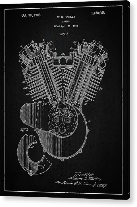 Vintage Harley Davidson Engine Patent, 1923 - Acrylic Print from Wallasso - The Wall Art Superstore