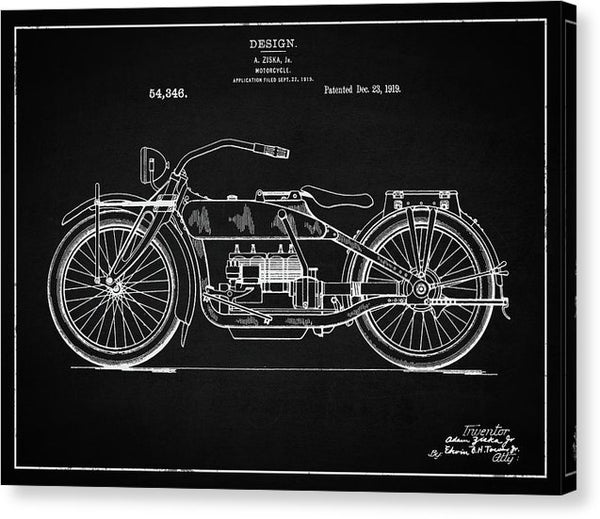 Vintage Harley Davidson Motorcycle Patent, 1919 - Canvas Print from Wallasso - The Wall Art Superstore