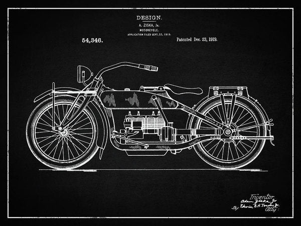 Vintage Harley Davidson Motorcycle Patent, 1919 - Art Print from Wallasso - The Wall Art Superstore