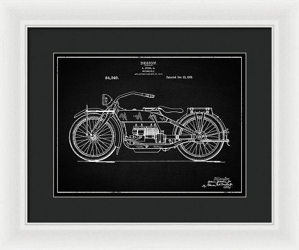 Vintage Harley Davidson Motorcycle Patent, 1919 - Framed Print from Wallasso - The Wall Art Superstore