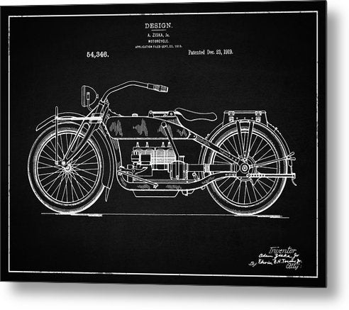 Vintage Harley Davidson Motorcycle Patent, 1919 - Metal Print from Wallasso - The Wall Art Superstore