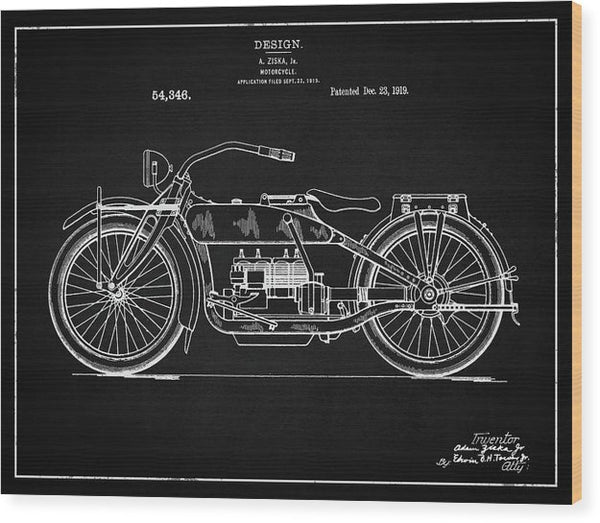 Vintage Harley Davidson Motorcycle Patent, 1919 - Wood Print from Wallasso - The Wall Art Superstore
