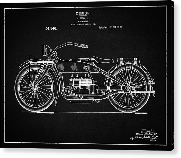 Vintage Harley Davidson Motorcycle Patent, 1919 - Acrylic Print from Wallasso - The Wall Art Superstore
