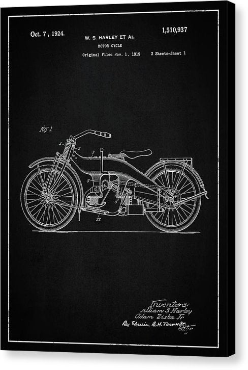 Vintage Harley Davidson Motorcycle Patent, 1924 - Canvas Print from Wallasso - The Wall Art Superstore