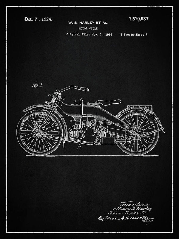 Vintage Harley Davidson Motorcycle Patent, 1924 - Art Print from Wallasso - The Wall Art Superstore