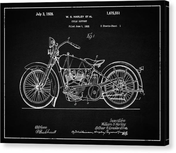 Vintage Harley Davidson Motorcycle Patent, 1928 - Canvas Print from Wallasso - The Wall Art Superstore