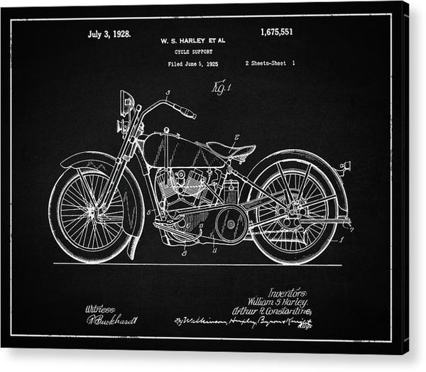 Vintage Harley Davidson Motorcycle Patent, 1928 - Acrylic Print from Wallasso - The Wall Art Superstore