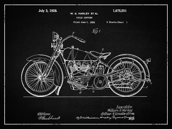 Vintage Harley Davidson Motorcycle Patent, 1928 - Art Print from Wallasso - The Wall Art Superstore