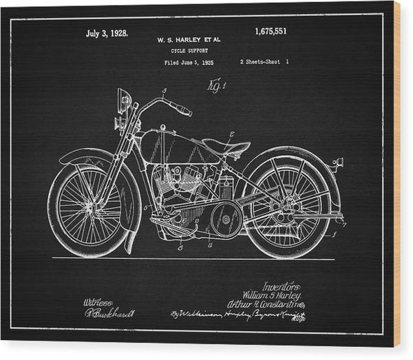 Vintage Harley Davidson Motorcycle Patent, 1928 - Wood Print from Wallasso - The Wall Art Superstore