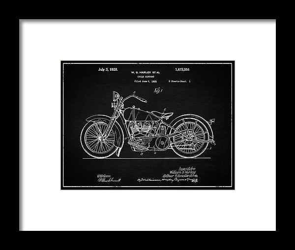 Vintage Harley Davidson Motorcycle Patent, 1928 - Framed Print from Wallasso - The Wall Art Superstore