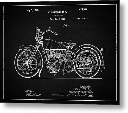 Vintage Harley Davidson Motorcycle Patent, 1928 - Metal Print from Wallasso - The Wall Art Superstore